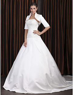 billiga A-linjeformade brudklänningar-A-linje Fyrkantig hals Katedralsläp Satäng Bröllopsklänningar tillverkade med Bård / Applikationsbroderi av LAN TING BRIDE® / Ja