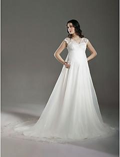 billiga Prinsessbrudklänningar-A-linje / Prinsessa V-hals Hovsläp Spets / Organza Bröllopsklänningar tillverkade med Bård / Spets av LAN TING BRIDE® / Genomskinliga