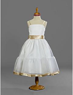 levne Šaty pro mladé družičky-A-Linie Princess Špagetová ramínka K lýtkům Organza Šaty pro malou družičku s Šerpa / Stuha podle LAN TING BRIDE®