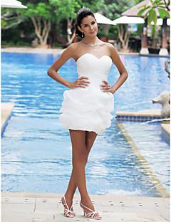De Baile Decote Princesa Curto / Mini Cetim Vestido de casamento com Cruzado Pregas em Cascata de LAN TING BRIDE®