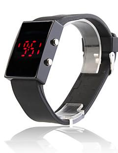 Sport-Armbanduhr mit Spiegel-Gehäuse und roter LED Anzeige, mit schwarzem Silikon Band