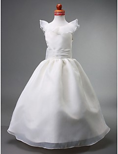 cheap Communion Dresses-Ball Gown Floor Length Flower Girl Dress - Organza Satin Sleeveless Jewel Neck with Bow(s) Ruched Ruffles by LAN TING BRIDE®