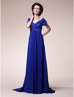 cheap Mother of the Bride Dresses-A-Line V Neck Sweep / Brush Train Chiffon Stretch Satin Mother of the Bride Dress with Beading Draping Ruched Criss Cross by LAN TING