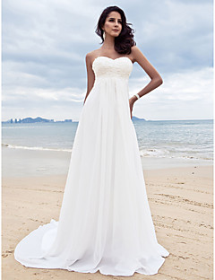 cheap Beach & Honeymoon Dresses-A-Line Sweetheart Court Train Chiffon Custom Wedding Dresses with Beading Appliques by LAN TING BRIDE®