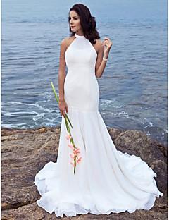 billiga Trumpet-/sjöjungfrubrudklänningar-Trumpet / sjöjungfru Halterneck Svepsläp Chiffong Bröllopsklänningar tillverkade med Bård av LAN TING BRIDE®