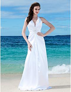 billiga Brudklänningar-Åtsmitande V-hals Golvlång Charmeuse Bröllopsklänning med Bård Sidodraperad av LAN TING BRIDE®