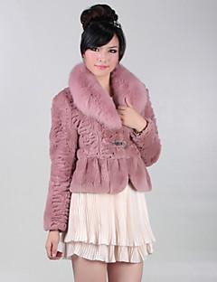 billige Outlets-lækker langærmet part / kontor kaninpels ræv pelskrave jakke (flere farver)