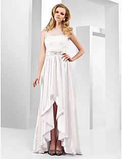 cheap Celebrity Dresses-A-Line Jewel Neck Asymmetrical Stretch Satin Formal Evening Dress with Crystal Detailing Lace by TS Couture®