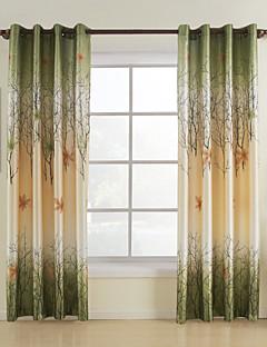 billige Gardiner-Et panel Window Treatment Land, Trykk Blad Soverom Polyester Materiale gardiner gardiner Hjem Dekor
