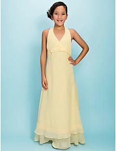 a-line prinsesse halter v-hals gulvlengde chiffon junior brudepike kjole av lan ting bride®
