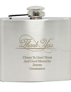 abordables Flasques-Acier inoxydable Flasque Marié Groom Mariage Anniversaire Je vous remercie
