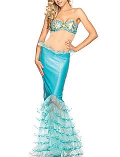 billige Halloweenkostymer-Sea Diva Adult Kvinners Sexy Mytisk Sky blue Mermaid Halloween Costume (3Pieces)
