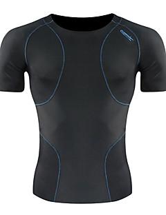 tanie Bielizna i odzież termoaktywna-SANTIC Męskie Krótki rękaw Koszulka rowerowa Solidne kolory Rower Warstwy bazowe Dżersej Rajstopy, Oddychający Spandeks / Wysoka elastyczność / Zaawansowane techniki szycia