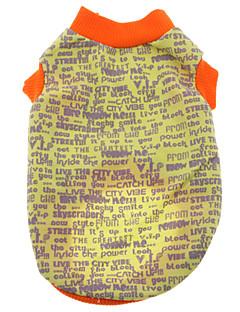 billiga Hundkläder-Hund T-shirt Hundkläder Bokstav & Nummer Svart Grå Gul Röd Blå Cotton Kostym För husdjur Herr Dam Ledigt/vardag