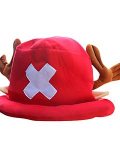 Hatt/Lue Inspirert av One Piece Tony Tony Chopper Anime Cosplay Tilbehør Cap / Hatt Rød Polar Fleece Mann