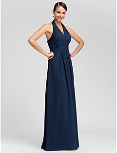 Sheath / Column Halter V-neck Floor Length Chiffon Bridesmaid Dress with Draping Criss Cross Ruching by LAN TING BRIDE®