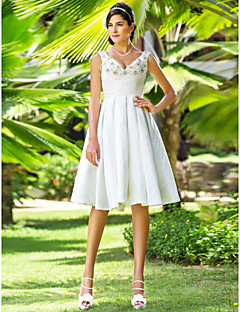 cheap Little White Dresses-A-Line / Princess V Neck Knee Length Taffeta Made-To-Measure Wedding Dresses with Beading / Criss-Cross by LAN TING BRIDE®