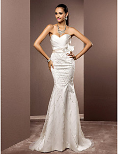 cheap True Allure-Mermaid / Trumpet Sweetheart Sweep / Brush Train Satin Tulle Wedding Dress with Beading Flower by LAN TING BRIDE®