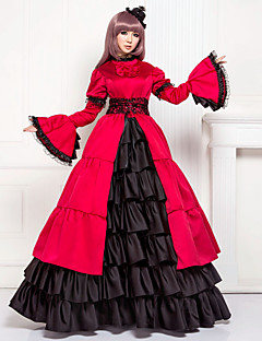 One-Piece/Dress Classic/Traditional Lolita Lolita Cosplay Lolita Dress Patchwork Poet Long Sleeve Long Length Dress For Satin Cotton