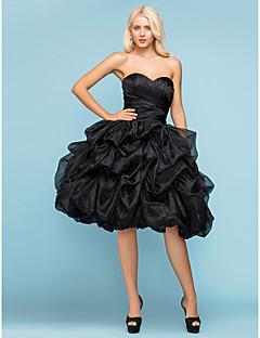 billiga A-linjeformade brudklänningar-Balklänning Hjärtformad urringning Knälång Organza Bröllopsklänning med Pickup-kjol Korsvis Veckad av LAN TING BRIDE®