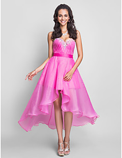tscouture®によるクリスタル入りaラインのstrapless sweetheart knee length asymmetrical organza prom dress