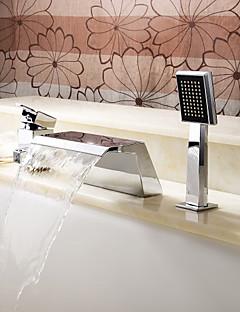 billige Romersk- bad-Moderne Romersk kar Foss Hånddusj Inkludert with  Keramisk Ventil Tre Huller Enkelt håndtak tre hull for  Krom , Badekarskran