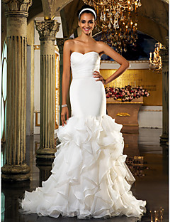 cheap True Allure-Mermaid / Trumpet Sweetheart Sweep / Brush Train Organza Tulle Custom Wedding Dresses with Crystal Floral Pin by LAN TING BRIDE®