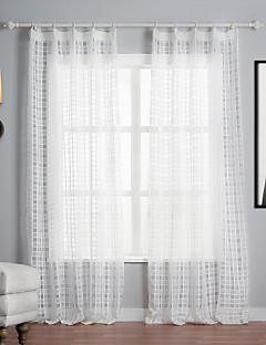 baratos Cortinas Transparentes-Dois Painéis Tratamento janela Mediterrêneo , Xadrez Poliéster Material Sheer Curtains Shades Decoração para casa For Janela