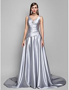 Linha A Decote V Cauda Escova Chiffon Acetinado Evento Formal Vestido com Cruzado Drapeado Lateral de TS Couture®