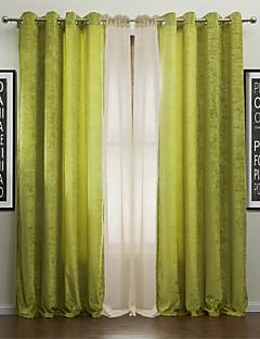 baratos Cortinas Personalizadas-Barra no Interior Anéis Presilhas Duplo Plissado Dois Painéis Tratamento janela Modern, Jacquard Sólido Poliéster Material Cortinas