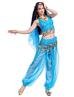 cheap Belly Dance Wear-Belly Dance Outfits Women's Performance Chiffon Beading Sequin Coin Sleeveless Top Pants Hip Scarf Headwear
