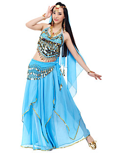 cheap Belly Dance Wear-Belly Dance Outfits Women's Chiffon Beading Sequin Coin Natural