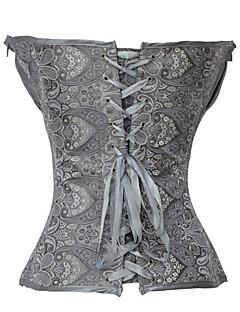 billiga Lolitamode-Klassisk Stil Bustiers Snörning Spets Satin Dam Korsett Cosplay Svart / Grå / Brun Lolita Kostymer