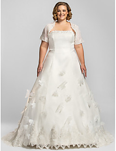 billiga A-linjeformade brudklänningar-A-linje Axelbandslös Kapellsläp Organza Bröllopsklänningar tillverkade med av LAN TING BRIDE® / Ja