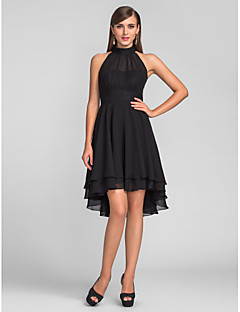 cheap Wedding Guest Dresses-A-Line Halter Neck Asymmetrical Chiffon Cocktail Party / Homecoming Dress with Pleats by TS Couture® / Little Black Dress / High Low