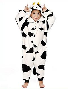 Kigurumi-pyjama's Melkkoe Onesie Pyjama  Kostuum Flanel Fleece Zwart wit Cosplay Voor Kind Dieren nachtkleding spotprent Halloween