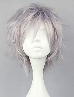 Cosplay Perukları Final Fantasy Hope Estheim Gümüş Short Anime / Video Oyunları Cosplay Perukları 32 CM Isı Dirençli Fiber Erkek