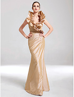 cheap Special Occasion Dresses-Mermaid / Trumpet High Neck Floor Length Taffeta Formal Evening / Military Ball Dress with Ruffles Side Draping by TS Couture®