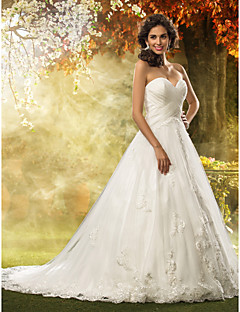 billiga Prinsessbrudklänningar-A-linje / Prinsessa Hjärtformad urringning Hovsläp Tyll Bröllopsklänningar tillverkade med Applikationsbroderi / Korsvis av LAN TING BRIDE® / Kyrka