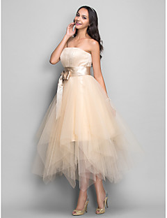 cheap Special Occasion Dresses-A-Line Strapless Tea Length Satin Tulle Holiday Dress with Bow(s) Draping by TS Couture®