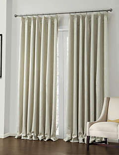 billige Egendefinerte gardiner-Stanglomme Propp Topp Fane Top Dobbelt Plissert To paneler Window Treatment Neoklassisk, Mønsterpreget Polyester Materiale Blackout