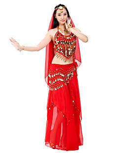ריקוד בטן תלבושות בגדי ריקוד נשים ביצועים שיפון חרוזים מטבעות 3 חלקים עליון חצאית צעיף מותניים לריקודי בטן