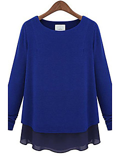 Women's Casual/Daily Simple All Seasons Blouse,Patchwork Round Neck Long Sleeve Blue / Black / Gray Thin / Medium