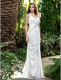 billiga Åtsmitande brudklänningar-Åtsmitande V-hals Hovsläp Chiffong Bröllopsklänningar tillverkade med Rosett / Bård / Korsvis av LAN TING BRIDE® / Öppen Rygg