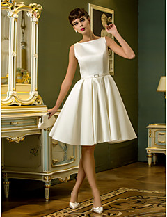 A-Line Bateau Neck Knee Length Satin Wedding Dress with Sash / Ribbon by LAN TING BRIDE®