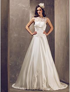 billiga Brudklänningar-a-line juvel domstol tåg satin och tyll brudklänning (632818) Taobao