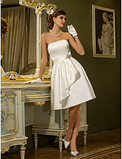 cheap Little White Dresses-A-Line Strapless Knee Length Satin Custom Wedding Dresses with Draping Sash / Ribbon Crystal Floral Pin by LAN TING BRIDE®