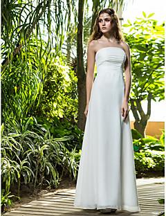 billiga Åtsmitande brudklänningar-Åtsmitande Axelbandslös Golvlång Bomull Bröllopsklänningar tillverkade med Veckad / Blomma av LAN TING BRIDE®