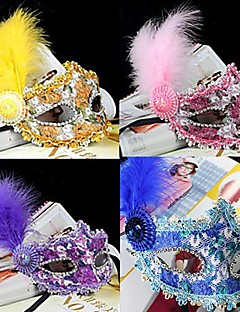 cheap Halloween Masks-Carnival Mask Masquerade Men's Women's Halloween Carnival New Year Festival / Holiday Halloween Costumes Purple Yellow Blue Pink Solid