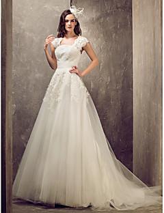 billiga Brudklänningar-A-linje / Prinsessa Queen Anne Svepsläp Spets / Tyll Bröllopsklänningar tillverkade med av LAN TING BRIDE® / Öppen Rygg